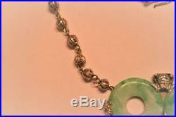 Ornate Antique Marked Chinese Sterling Silver Jade Jadeite Bi Disc Necklace