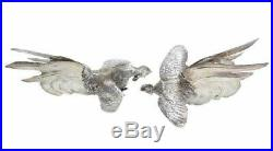 Pair Peruvian Sterling Silver Fighting Cocks Figurines, 20th Century. Marked AM