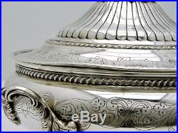 Portuguese Solid Silver Tureen Covered Dish Marked Oporto Figural Pear Finial