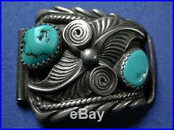Pre-Owned Navajo Sterling Silver Turquoise Watch Cuff Tips Marked Signed A