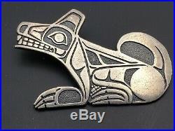 RARE Vtg Sterling Artist Mark Native Pacific NW Tribe TLINGIT Overlay Dog Pend