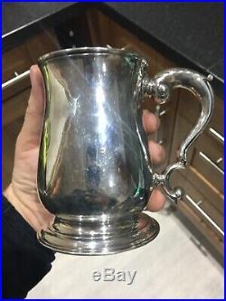 Rare Georgian Silver Pint Tankard 1749 Marks Cancelled By London Assay Office