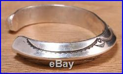 Rare Mark Chee Navajo Sterling Silver Stamped Cuff Bracelet 221DEDD-1
