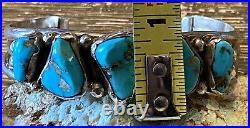 Rare Navajo MARK CHEE Sterling & Rare Gem Blue Turquoise Cuff Bracelet No Reserv