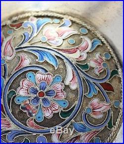 Russian Enamelled Cloisonne Silver Kovsh Maker's Mark of GUSTAVE KLINGER