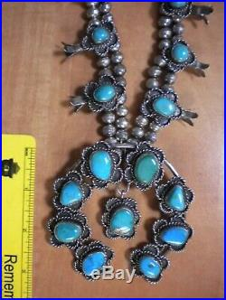 SQUASH BLOSSOM necklace sterling silver turquoise NAVAJO style no marks