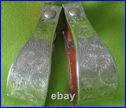 STERLING Silver Show Saddle STIRRUPSMaker Marked MEWES Out WestGREAT Condition