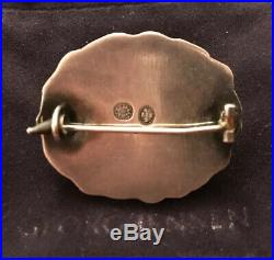 Signed Georg Jensen Early Mark 830 Danish Silver Carnelian Pin Brooch Denmark 60
