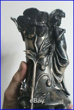 Spectacular Art Nouveau Sterling Silver Over Porcelain Lady Vase Marked