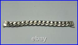 Sterling Silver 925 Mex Marked Thick Cuban Chain 9 Heavy Bracelet 152.7g