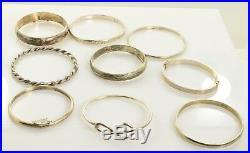 Sterling Silver Bangle Bracelet Lot 9 Bracelets Marked or Tested 127.3 grams