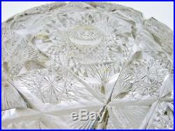 Sterling Silver & Cut Glass Punch Bowl Marked Sterling Scrolling Leaf Motif