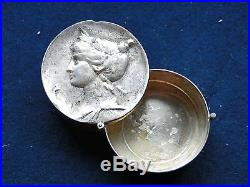 Sterling Silver Pill Box Italian 1920 Art Nouveaux Head, Marked, On A Hinge