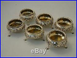 Sterling Silver Salts Set Of 6 Chased And Engraved, Fully Marked London 1858