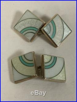 Sterling Silver and Enamel Vintage Cufflinks Birmingham Marked F. R