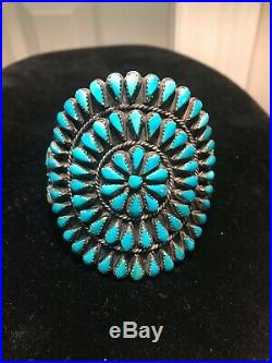 Sterling Silver and Petit Point Turquoise cuff Bracelet marked SMB attributed to