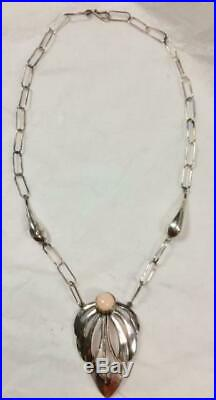 Sterling Silver and Pink Coral Chain Necklace Marked KALO Hand Wrought
