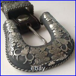 Three Piece Sterling Silver Ranger Buckle, Marked Cowboy Culture