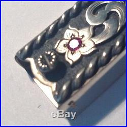 Three Piece Sterling Silver Ranger Buckle With Rubies, Marked Cowboy Culture