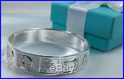 Tiffany & Co. Iconic Lexicon Makers Mark Bangle Medium Cuff Bracelet Silver 925