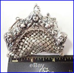 Unger Bros. Marked Sterling Silver Art Nouveau 5 Face Finger Chatelaine Purse
