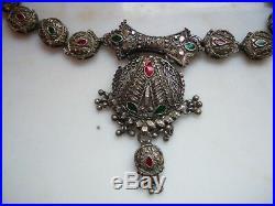 VINTAGE ETHNIC sterling silver enameled Ottoman Islamic Indian RKJ mark NECKLACE