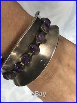 VINTAGE MEXICAN TAXCO STERLING CUFF BRACELET withAMETHYST CABACHONS, MARKED GAR