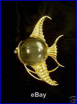 VINTAGE VERMEIL STERLING SILVER JELLY BELLY ANGEL FISH BROOCH marked CATHE