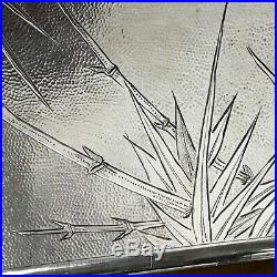 VTG Chinese 90 Sterling Cigarette Case Hand Engraved Bamboo Moon Mark