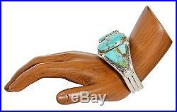 VTG Navajo Indian Artist Mark Begay Natural Turquoise. 925 Silver Cuff Bracelet