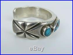 VTG period original Mark Chee Sterling silver turquoise cuff bracelet
