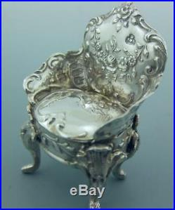 Victorian Miniature Dutch Sterling Silver Armchair Import Marks London 1897