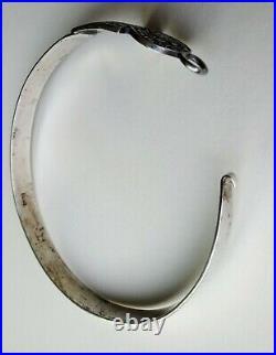 Vintage Ankh Sacred Scarab Bracelet Egyptian Revival Sterling Silver Marked