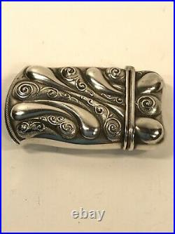 Vintage Art Nouveau, Sterling Silver, Match Safe. Fully Marked