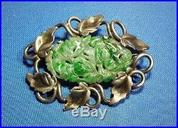 Vintage Chinese Sterling Silver Jade Jadeite Brooch Pin Marked