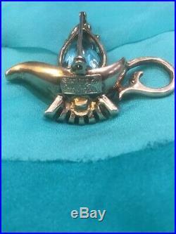 Vintage Coro Craft Sterling Aqua Fire Paste Lamp Pin Alladin