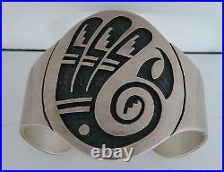 Vintage Floyd Namingha, Native American Hopi Guild mark Sterling big bracelet