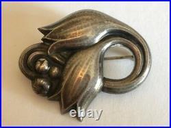 Vintage Georg Jensen Sterling Silver Tulip Pin Brooch Marked 100 A