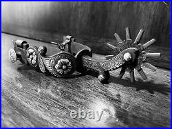 Vintage Handmade Sterling Silver Chiseled Tapia Style Single Mtd. Spurs Marked