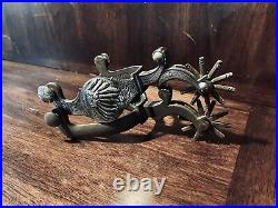 Vintage Handmade Sterling Silver Inlay Chief's Motif Single Mounted Spurs Marked