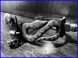 Vintage Handmade Sterling Silver Inlay Snake Motif Single Mounted Spurs Marked