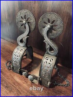 Vintage Handmade Sterling Silver Large Spurs Filigree Single Mtd. Maker Marked