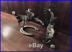 Vintage Handmade Sterling Silver Overlay California Spurs Single Mounted Marked