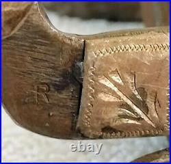 Vintage Handmade Sterling Silver Overlay Single Mounted Spurs Maker Marked R