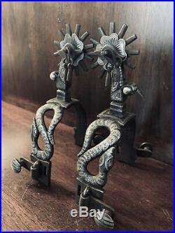 Vintage Handmade Sterling Silver Overlay Snake Spurs Single Mounted Maker Marked