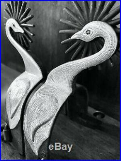 Vintage Handmade Sterling Silver Overlay Swan Spurs Single Mounted Maker Marked