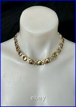 Vintage Italian Sterling Silver Xo Necklace Gilded Decoration Marked Beautiful