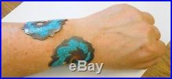 Vintage Large 85 mm Sterling Silver Turquoise Clamper Bracelet Mexico Crown Mark