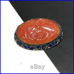 Vintage Marked CHINA Carved CARNELIAN & Enamel STERLING Silver Brooch Pin WW141m