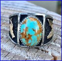 Vintage NAVAJO 14K Gold Sterling & Turquoise Eagle Wolf Fox Ring Marked TH Sz 11